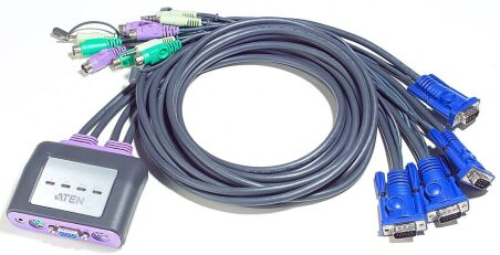 MINI SWITCH KVM 4/1 AUTO - PS2/AUDIO + CABLES