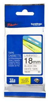 Ruban TZ laminé 18mm noir / blanc