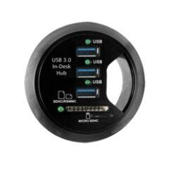 Hub USB 3.0 3 ports + 2 slots SD +son à encastrer