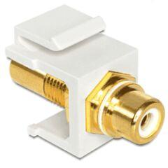 Embase Keystone RCA femelle > RCA fem. blanc gold