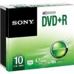 Pack de 10 DVD+R 16X boitier slim