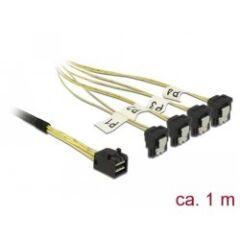 Cable Mini SAS HD SFF-8643 > 4 xSata 7 coudé 1m